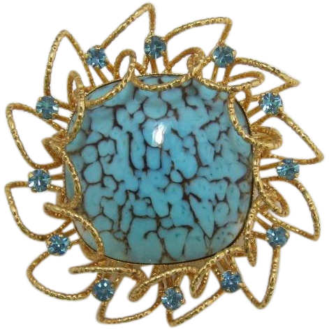 Dramatic Brooch with Huge Turquoise Glass Cabochon Brooch