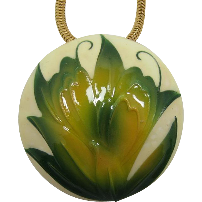 Green and Gold Leafy Domed Enameled Pin-Pendant