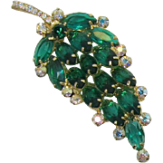 DeLizza and Elster / Juliana Green Navette Rhinestone Brooch
