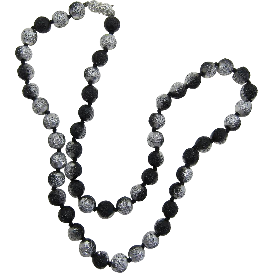 Elegant Black and Silver Glass Beaded Necklace - Beautiful!