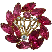 D&E Juliana Hot Pink Rhinestone Brooch