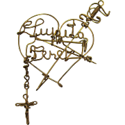 Fabulous Wire Heart, Sword and Cross Brooch with Name Lupita Perez