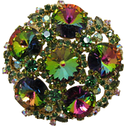 Huge DeLizza and Elster Juliana Green Heliotrope (Watermelon) Brooch