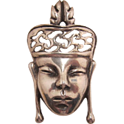 Sterling Silver Asian Princess Face Brooch - Book Piece