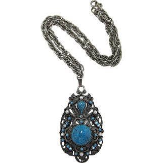 Superb Florenza Imitation Turquoise Pendant Necklace - Book Piece