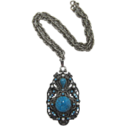 Superb Florenza Imitation Turquoise Pendant Necklace - Book Piece