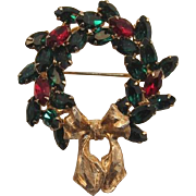 Napier Christmas Wreath Pin - Red and Green Rhinestones