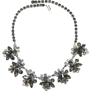 Gorgeous D&E / Juliana Black Diamond Navette Rhinestone Necklace