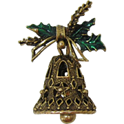 Gerry's Highly Decorative and Enameled Christmas Bell Pin