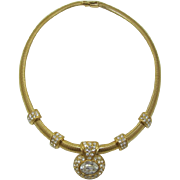 Monet Elegant Gold-tone and Clear Rhinestone Necklace