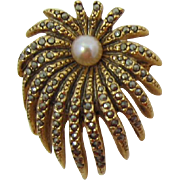 Signed Vogue Gold-plated and Marcasite Pin