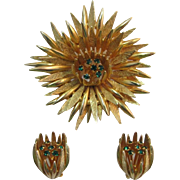 Large Gold-tone Spiky Flower Pin and Earring Set - Green Rhinestones