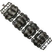 Chunky Animal Print Link Bracelet - Grey and Black