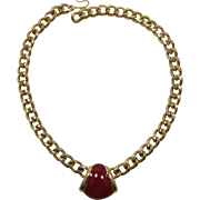 Monet Gold-tone Chain and Red Enameled Necklace - LAST CHANCE