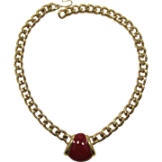 Monet Gold-tone Chain and Red Enameled Necklace