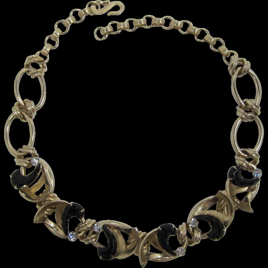 Stylish Gold-tone Necklace with Unusual Comma-shaped Black Rhinestones