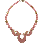 Signed Napier Pink Enamel and Beaded Necklace