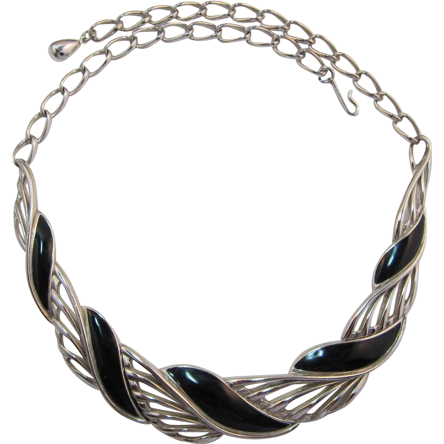Trifari Modernist Silver-tone and Black Enamel Necklace