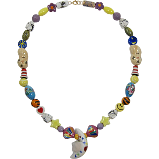 Long  All Ceramic Necklace - Fun and Unusual Beads