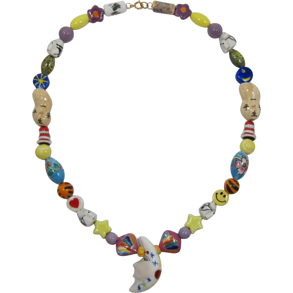 Long and Whimsical All Ceramic Necklace - Fun and Unusual Beads