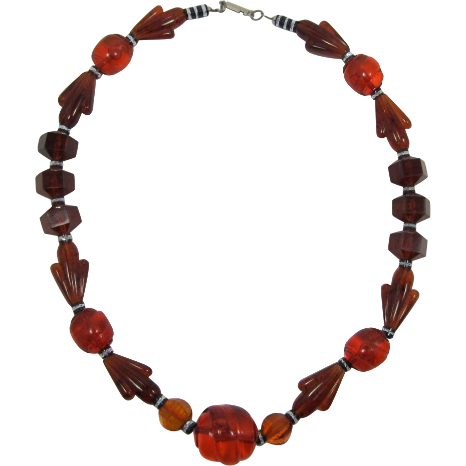 Smoky Topaz Root Beer Necklace with Cool Shaped Beads