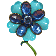 Aqua Enameled Flower Pin with Large Sapphire Blue Rhinestones