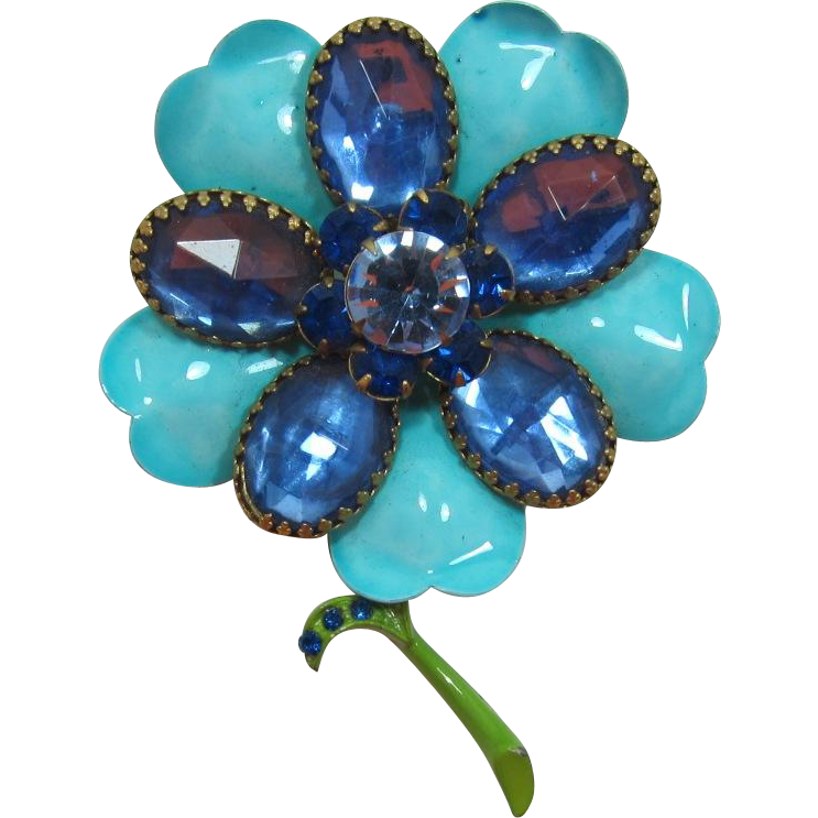 Aqua Enameled Flower Pin with Large Sapphire Blue Rhinestones