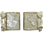 Signed PAM Bright White Summertime Confetti Earrings