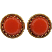 Burnt Orange and Gold-tone Thermoplastic Earrings