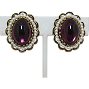 Large Purple Cabochon and Imitation Pearl Earrings