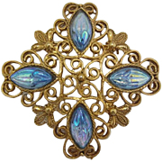 Aquamarine Rhinestone and Gold-tone Filigree Navette Brooch