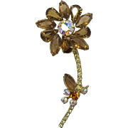 D&E / Juliana Smoky Topaz Rhinestone Flower Pin