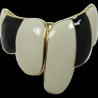 Striking Asymmetrical Black and Cream Enameled Hinged Cuff Bracelet
