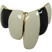 Asymmetrical Black and Cream Enameled Hinged Cuff Bracelet