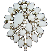 LAST CHANCE - Bright White Opaque Pear, Navette and Chaton Domed Brooch