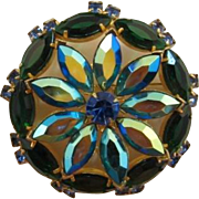 Striking Green Navette and Teal AB Sunburst Pin