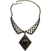 Dramatic Victorian Revival Antique Gold-tone Necklace