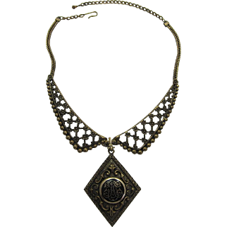 Dramatic and Elaborate Victorian Revival Antique Gold-tone Necklace