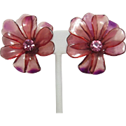 Hard-to-Find Pink Cellulose Acetate Flower Earrings