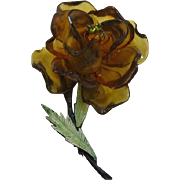 Olivine Green and Dark Amber Cellulose Acetate Flower Pin - Hard to Find