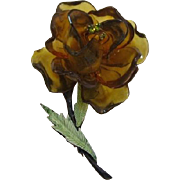 Olivine Green and Dark Amber Cellulose Acetate Flower Pin
