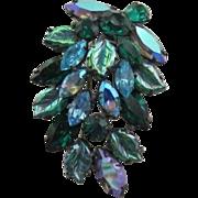 Regency Iridescent Blue, Green, Blue Rhinestone Brooch