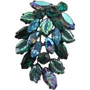 Regency Iridescent Blue, Green, Blue Rhinestone Brooch