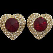 Glitzy Clear and Red Rivoli Rhinestone Earrings - Valentine's Day