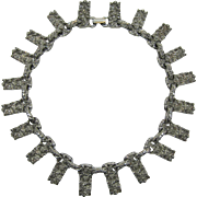 "Brutalist Silver-tone ""Nugget"" Necklace"