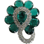 Elegant Green Pear-Shaped Rhinestone Brooch