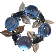 Icy Blue Large Glass Cabochons Brooch