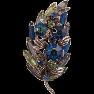 Blue Heliotrope Margarita and Peridot Navette Rhinestone Pin