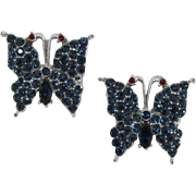 Two Matching Deep Blue Rhinestone Butterfly Pins