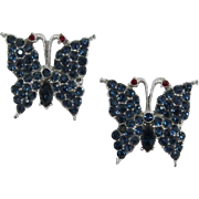 Two Deep Blue Rhinestone Butterfly Pins